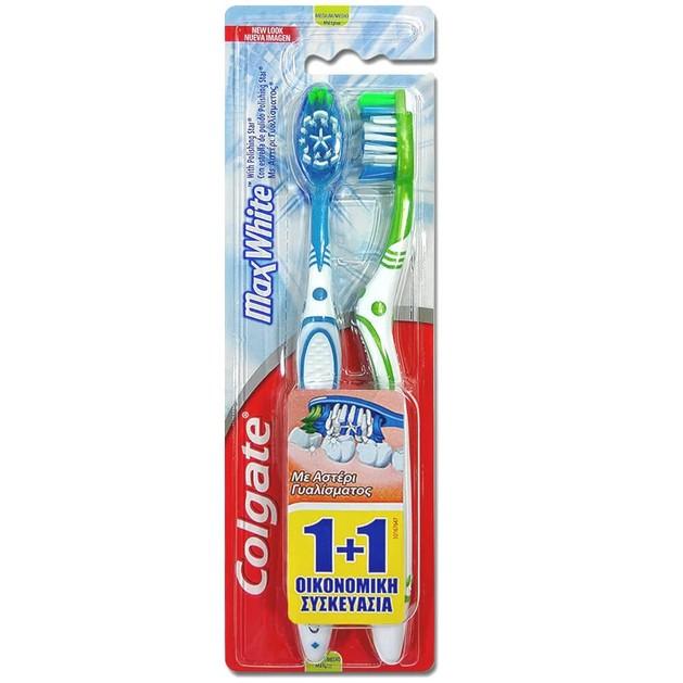 Colgate Max White Medium Οδοντόβουρτσα Μέτρια με Αστέρι Γυαλίσματος για την Απομάκρυνση των Χρωματικών Λεκέδων 1+1 Δώρο
