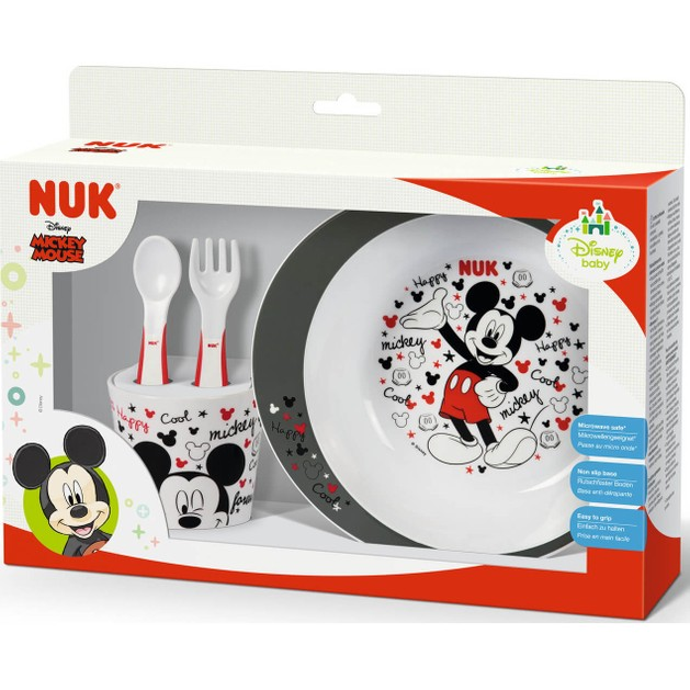 Nuk Disney Mickey Εκπαιδευτικό Σετ Φαγητού 6m+ Περιλαμβάνει Μπολ Φαγητού, Ποτήριι, Κουτάλι & Πιρούνι