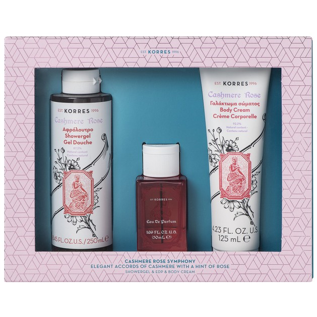 Korres Πακέτο Προσφοράς Cashmere Rose Eau De Parfum 50ml, Showergel 250ml & Body Cream 125ml σε Ειδική Τιμή