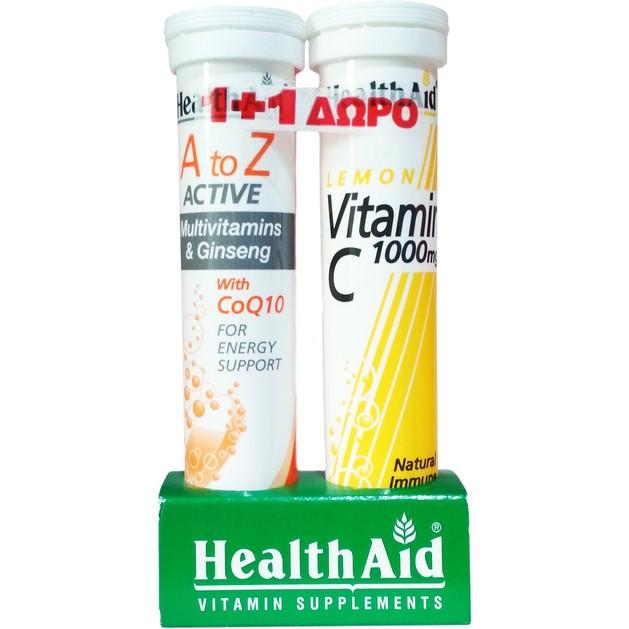 Health Aid Πακέτο Προσφοράς Α to Ζ Active 20eff.tabs & Δώρο Vitamin C Lemon 1000mg 20eff.tabs