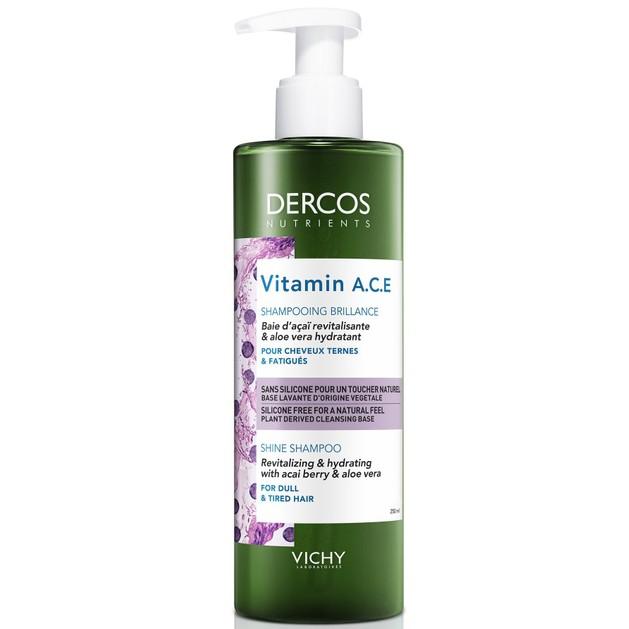 Vichy Dercos Nutrients Vitamin A.C.E Shampooing Brillance Ενυδατικό Σαμπουάν Λάμψης & Τόνωσης για Θαμπά & Άτονα Μαλλιά 250ml