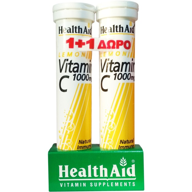 Health Aid Πακέτο Προσφοράς Vitamin C Lemon 1000mg 20eff.tabs & Δώρο Vitamin C Lemon 1000mg 20eff.tabs