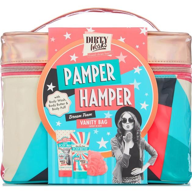 Dirty Works Pamper Hamper, Body Wash Αφρόλουτρο 200ml, Body Butter Κρέμα Σώματος 200ml & Body Puff Σφουγγάρι Μπάνιου