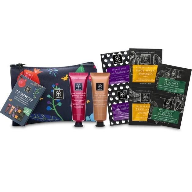 Apivita Μάσκα Λάμψης Ρόδι,Scrub Απολέπισης Βερύκοκο 2x50ml & Exp.Beauty Face Scrub Bilberry,Mask Pumpkin,Eye Mask Ginkgo Biloba