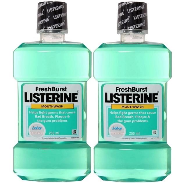 Listerine Πακέτο Προσφοράς Fresh Burst Στοματικό Διάλυμα για Δροσερή Αναπνοή & Δροσερή Γεύση 2x250ml 1+1 Δώρο