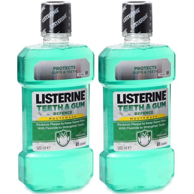 Listerine Πακέτο Προσφοράς Teeth & Gum Defence Στοματικό Διάλυμα, Ενδυναμώνει τα Δόντια & Προστατεύει τα Ούλα 2x500ml 1+1 Δώρο