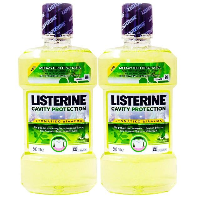 Listerine Πακέτο Προσφοράς Cavity Protection Στοματικό Διάλυμα για Προστασία Από την Τερηδόνα με Πράσινο Τσάι 2x500ml 1+1 Δώρο