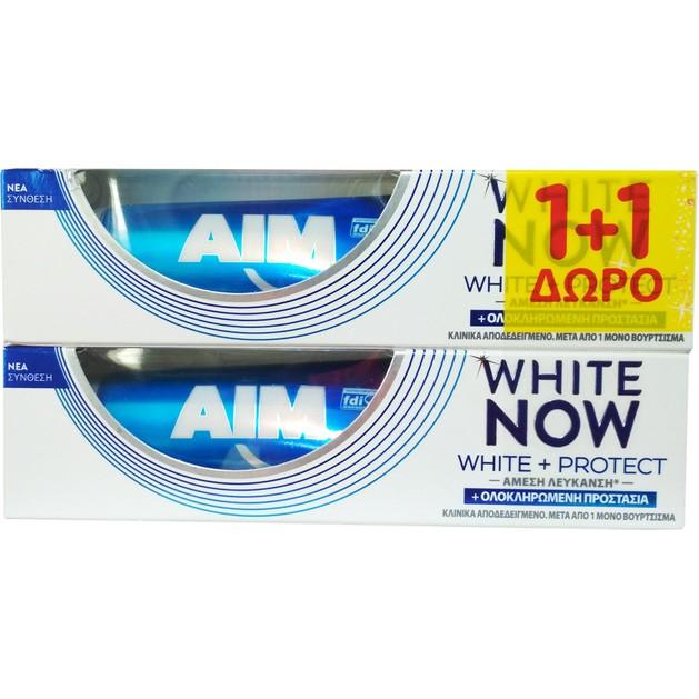 Aim Πακέτο Προσφοράς White Now White & Protect Οδοντόκρεμα για Άμεση Λεύκανση & Ολοκληρωμένη Προστασία 2x75ml 1+1 Δώρο