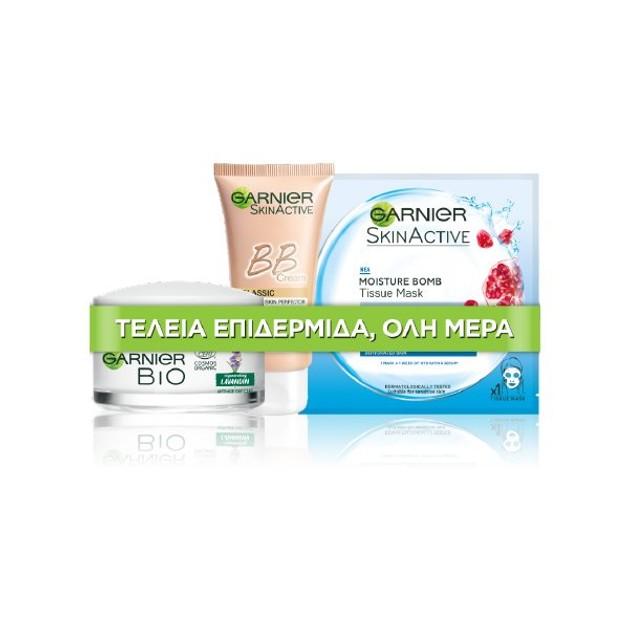 Garnier Πακέτο Προσφοράς Bio Graceful Lavandin Anti-Wrinkle Day Cream 50ml,BB Miracle Skin Medium 50ml,Moisture Bomb Tissue 32gr