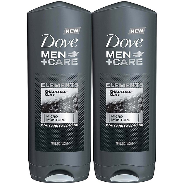 Dove Πακέτο Προσφοράς Men +Care Elements Body and Face Wash, Charcoal and Clay Ανδρικό Αφρόλουτρο για μια Έκρηξη Δροσιάς 2x400ml