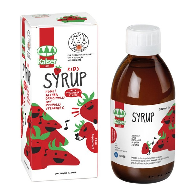 Kaiser Kids Syrup Strawberry Flavor Παιδικό Σιρόπι για τον Ερεθισμένο Λαιμό Γεύση Φράουλα 200ml