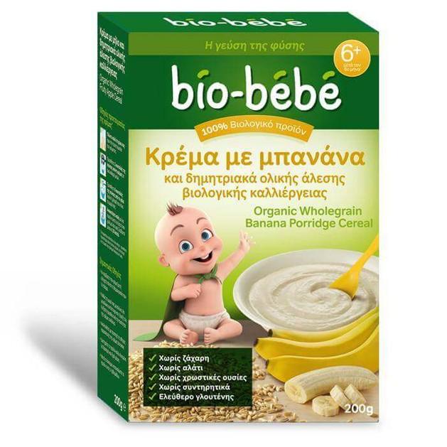 Bio-Bebe Κρέμα με Μπανάνα & Δημητριακά Ολικής Άλεσης Βιολογικής Καλλιέργειας Μετά τον 6ο Μήνα 200gr Promo -0,50€ Έκπτωση