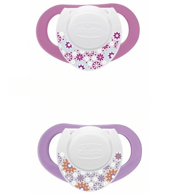 Chicco Compact Πιπίλα Καουτσούκ με Κρίκο 6-12 Μηνών 2τμχ