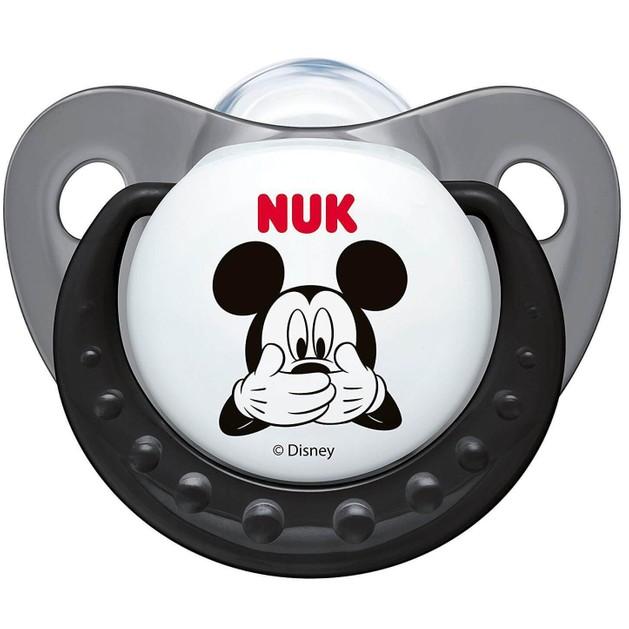Nuk Trendline Disney Mickey Πιπίλα Σιλικόνης με Κρίκο Γκρι Μεγέθους 2 (6-18 Μηνών) 1τμχ