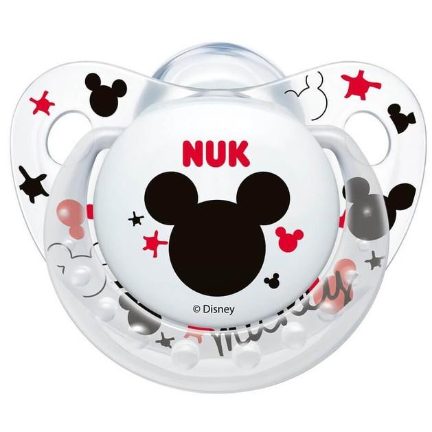 Nuk Trendline Disney Mickey Πιπίλα Σιλικόνης με Κρίκο Διάφανη Λευκή Μεγέθους 2 (6-18 Μηνών) 1τμχ