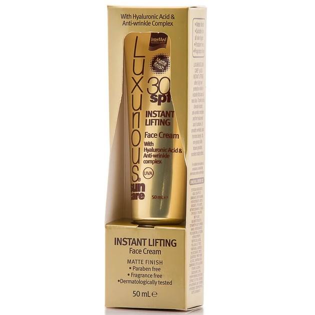 Luxurious Sun Care Instant Lifting Face Cream Spf30 Αντηλιακή & Αντιρυτιδική Κρέμα Προσώπου με Ματ Αποτέλεσμα 50ml