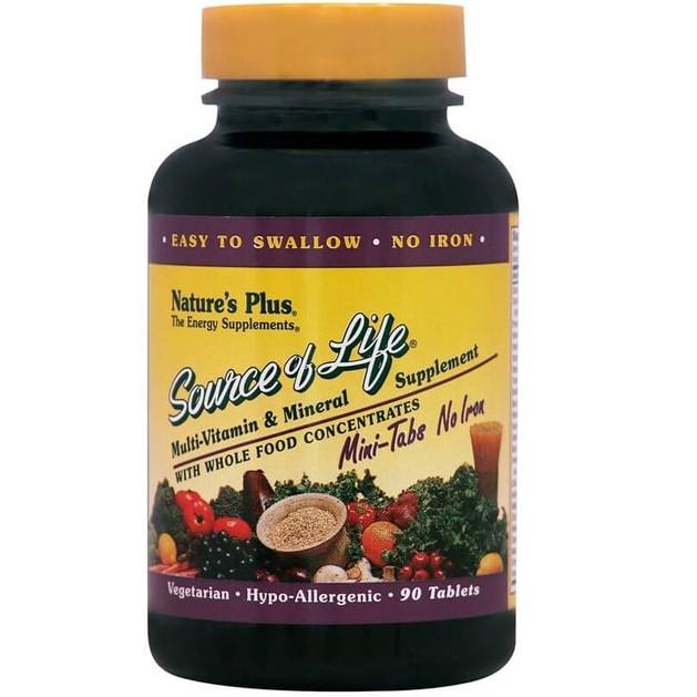 Nature\'s Plus Source Of Life Mini-Tabs No Iron Συμπλήρωμα Διατροφής για Τόνωση & Ενέργεια του Οργανισμού 90 Tabs