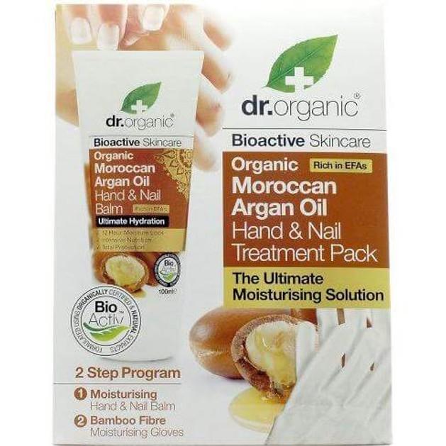 Dr. Organic Moroccan Argan Oil Hand & Nail Balm, 100ml & ΔΩΡΟ Ενυδατικά Γάντια, 2 τεμάχια