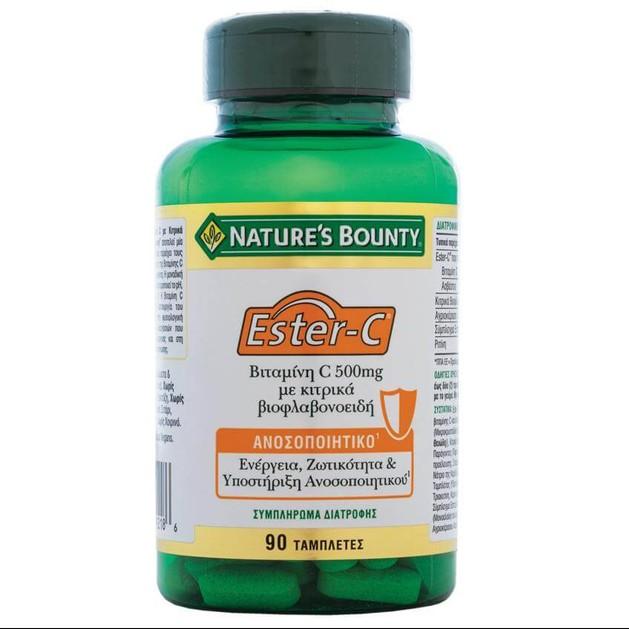 Nature\'s Bounty Βιταμίνη Ester-C με Κιτρικά Βιοφλαβονειδή Συμπλήρωμα Διατροφής για τη Καλύτερη Απορρόφηση Σιδήρου 500mg 90tabs