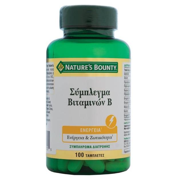 Nature\'s Bounty Σύμπλεγμα Βιταμινών Β Συμπλήρωμα Διατροφής για Ενέργεια & Φυσιολογική Λειτουργία του Νευρικού Συστήματος 100tabs