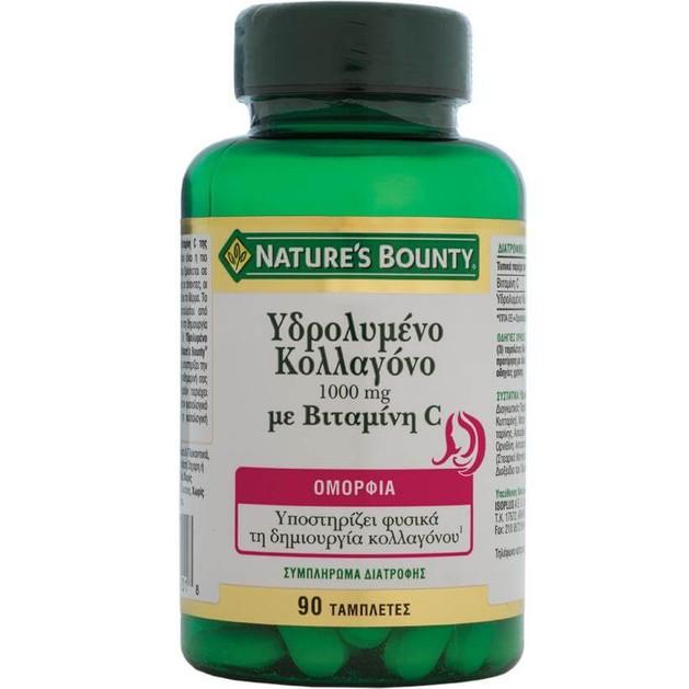Nature\'s Bounty Υδρολυμένο Κολλαγόνο με Βιταμίνη C Συμπλήρωμα Διατροφήςγια ΦυσικήΔιαδικασία Σύνθεσης Κολλαγόνου 1000mg 90tabs