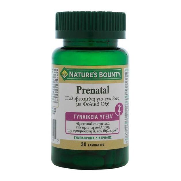 Nature\'s Bounty Prenatal Συμπλήρωμα Διατροφής Κατάλληλο για Εγκύους με Συνδυασμό Βιταμινών & Φολικού Οξέος 30tabs