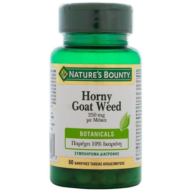 Nature\'s Bounty Horny Goat Weed με Μάκα Συμπλήρωμα Διατροφής για τη Τόνωση της Σεξουαλικής Υγείας 250mg 60caps