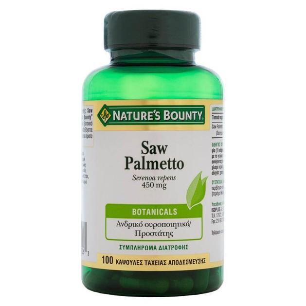 Nature\'s Bounty Saw Palmetto Συμπλήρωμα Διατροφής για ΥγιήΑνδρικό ΟυροποιητικόΣύστημα&Τόνωση του Προστάτη450mg 100caps