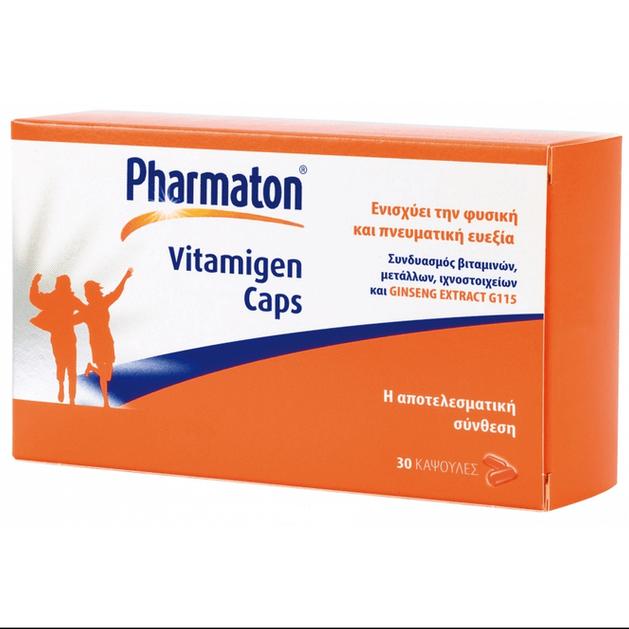 Pharmaton Vitamigen Πολυβιταμίνες, Συνδυασμός Βιταμινών, Μετάλλων, Ιχνοστοιχείων και Ginseng Extract G115  30Caps