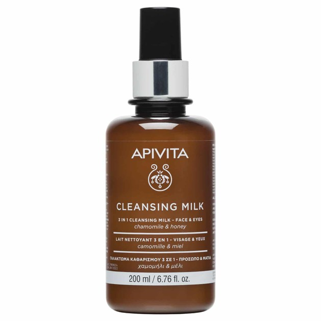 Apivita Cleansing Milk 3 in 1 Face & Eye With Chamomile & Honey 200ml