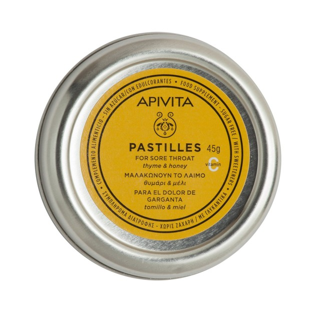 Apivita Pastilles For Sore Throat With Thyme & Honey 45g