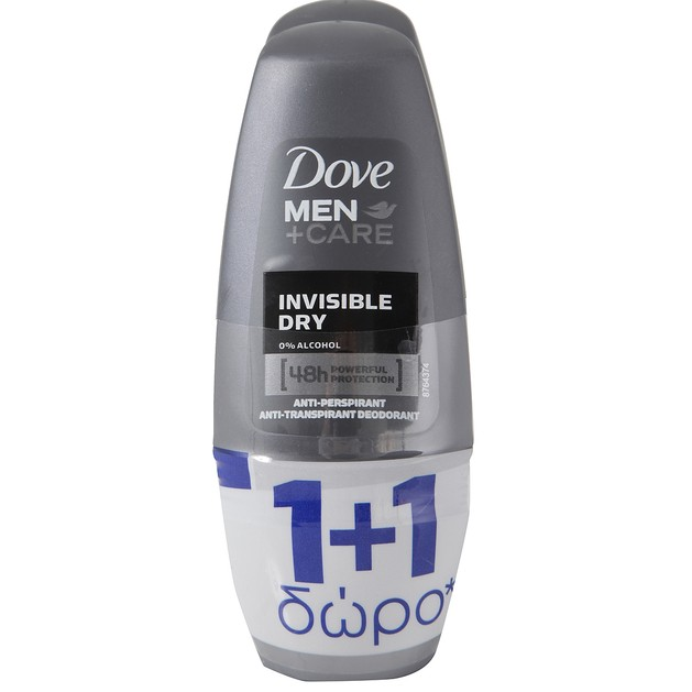 Dove Men Αποσμητικό Roll on Invisible Dry 50ml  2 x 50ml Πακέτο 1+1