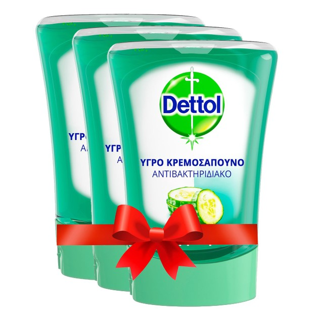 Dettol Πακέτο Προσφοράς No-Touch Cucumber Υγρό Σαπούνι Ανταλλακτικό για την Συσκευή No-Touch 3x250ml