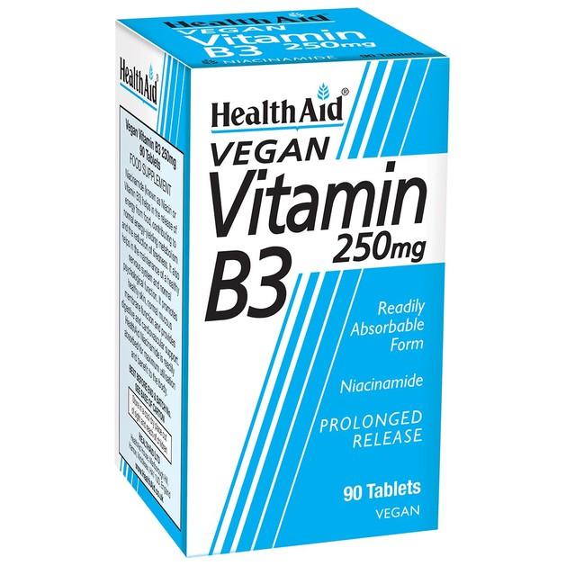 Health Aid Vitamin B3 (Niacin) 250mg Συμπλήρωμα Διατροφής που Συμμετέχει σε Πολλές Μεταβολικές Διεργασίες του Οργανισμού 90 tabs