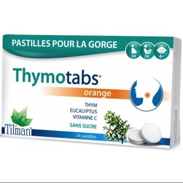 Tilman ThymoTabs Orange Παστίλιες για το Λαιμό Πορτοκάλι, με Θυμάρι, Ευκάλυπτο & Βιταμίνη C Χωρίς Ζάχαρη 24τμχ