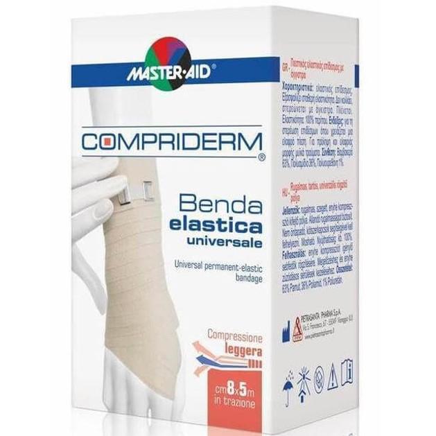 Master Aid Compriderm Λευκός Ελαστικός Επίδεσμος με Άγκιστρα