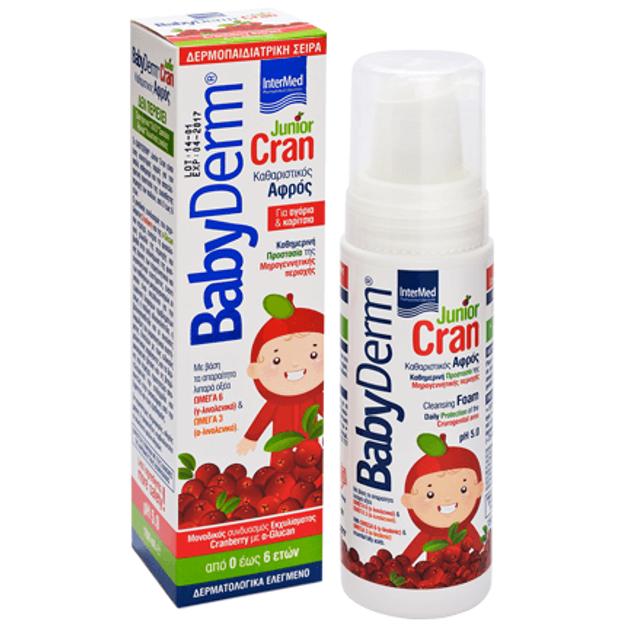 BabyDerm Junior Cran Καθαριστικός Αφρός για την Προστασία της Μηρογεννητικής Περιοχής με Cranberry απο 0-6 Ετών 150ml