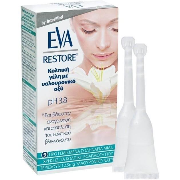 Eva Restore Gel Κολπική Γέλη με Υαλουρονικό Οξύ για τη Επούλωση του Ατροφικού, Τραυματισμένου Κολπικού Βλεννογόνου 9τμχ