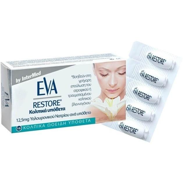 Eva Restore Ovules Κολπικά Υπόθετα με 12,5 mg Υαλουρονικό Οξύ για Επούλωση & Ανακούφιση του Κολπικού Βλεννογόνου 10Τμχ