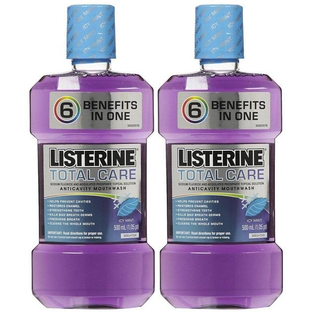 Listerine Πακέτο Προσφοράς Total Care Αντισηπτικό Στοματικό Διάλυμα Ολοκληρωμένης Φροντίδας 2x500ml 1+1 Δώρο