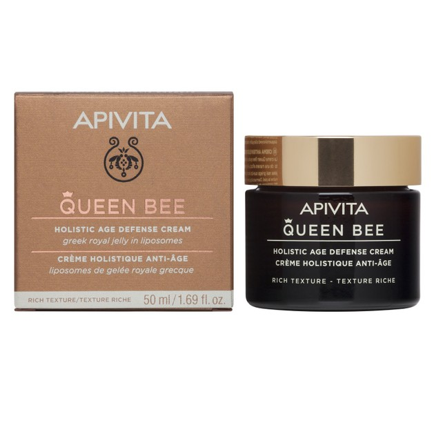 Queen Bee Holistic Age Defence Day Cream With Greek Royal Jelly in Liposomes Rich 50ml - Apivita