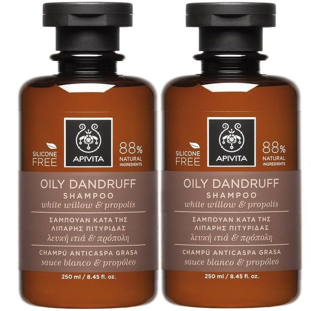 Apivita Πακέτο Προσφοράς Oily Dandruff Shampoo With White Willow & Propolis Σαμπουάν Κατά της Λιπαρής Πιτυρίδας 2x250ml 1+1 Δώρο