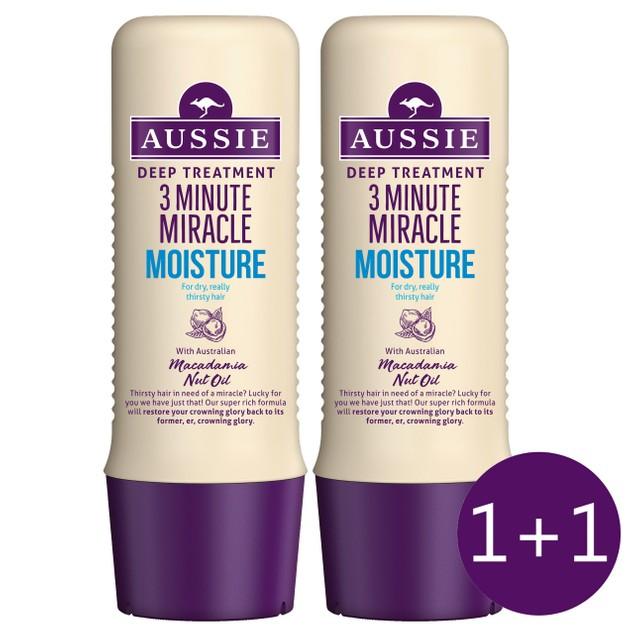 Aussie Πακέτο Προσφοράς 3 MM Moisture Deep Treatment Εντατική Μάσκα 3 Λεπτών Για Ξηρά ή Ταλαιπωρημένα Μαλλιά 2x250ml 1+1 Δώρο