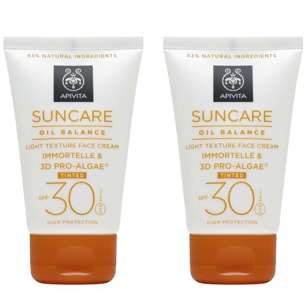 Apivita Πακέτο Προσφοράς Suncare Oil Balance Light Texture Tinted Face Cream With Immortelle-3D Pro-Algae Spf30, 2x50ml