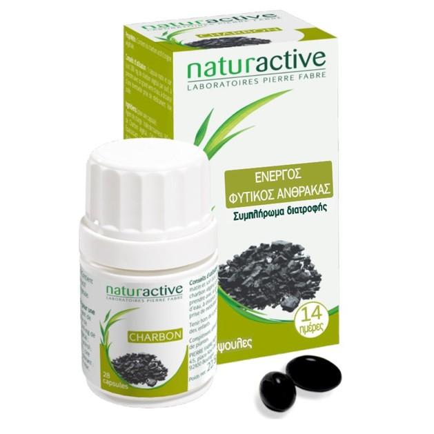 Naturactive Charbon Ενεργός Φυτικός Άνθρακας Κατάλληλος για την Αντιμετώπιση της Κακής Πέψης & του Φουσκώματος 28caps