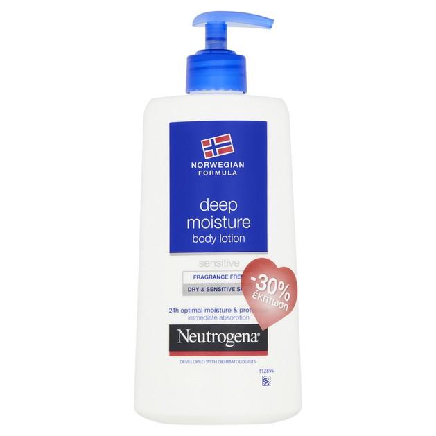 Neutrogena Deep Moisture Body Lotion Ενυδατικό Γαλάκτωμα Σώματος για Ξηρή & Ευαίσθητη Επιδερμίδα Χωρίς Άρωμα 400ml Promo -30%