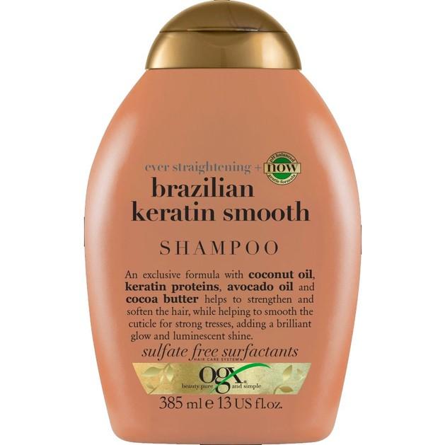 OGX Brazilian Keratin Smooth Shampoo Ever Straightening Δυναμωτικό Σαμπουάν Λείανσης & Λάμψης στα Ταλαιπωρημένα Μαλλιά 385ml