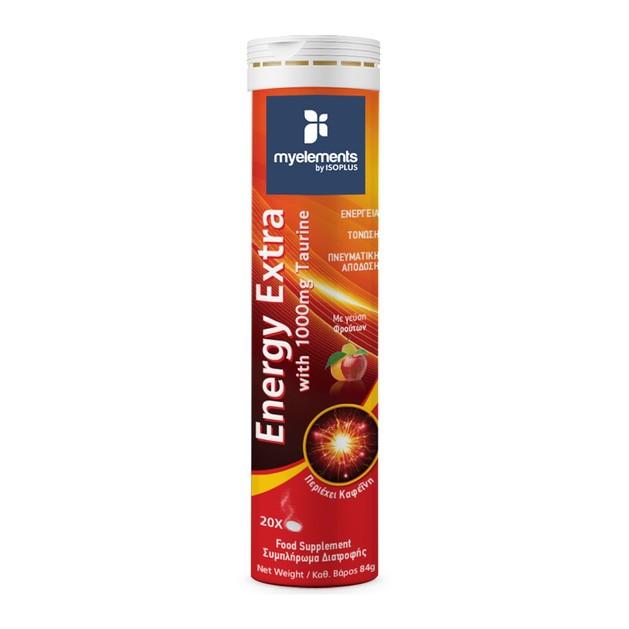 My Elements Energy Extra Συμπλήρωμα Διατροφής,Ενέργεια & Τόνωση Κατά την Διάρκεια της Ημέρας, με Γεύση Φρούτων 20 Effer.Tabs
