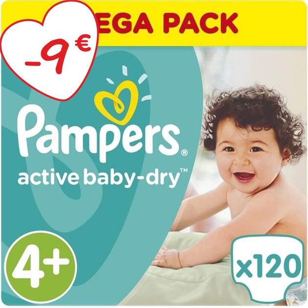 Active Baby Dry Mega Pack No4+ (9-16kg) 120 πάνες - Pampers