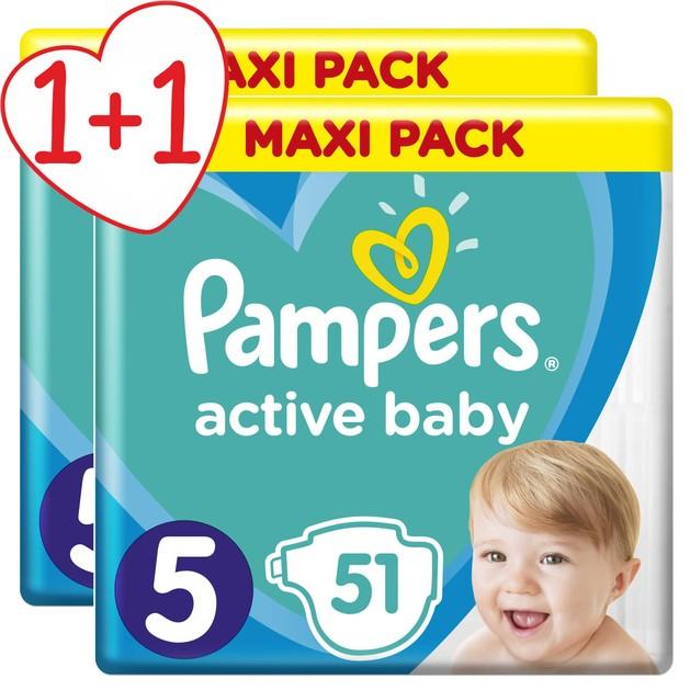 Pampers Πακέτο Προσφοράς Active Baby Maxi Pack No5 (11-16 kg), 2x51 Πάνες 1+1 Δώρο